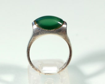 Vintage 70s Ring Sterling Ring Chrysoprase Ring French Jewelry Ring Size Approx 5.90 US