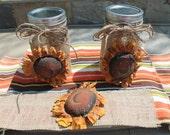 Sunflower Burlap Jar Wrap..Candle Wrap...Prim Sunflower Wrap...Country Decor....Sunflower Kitchen..Country Kitchen..Housewarming Gift.