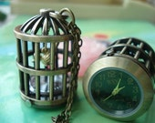 antique bronze Filigree 3D birds cages birdcages Pocket Watch Locket Pendants Necklaces