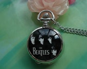 Small Silver Ceramics Painted memorable beatles print round White Steel Pocket Watch Locket Necklaces FREE Ribbon