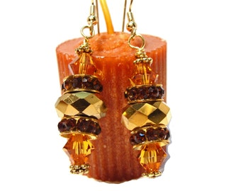 Gold Faceted Beads with Amber Crystal Rondelles and Swarovski Crystal Earrings-swarovski earrings, amber earring, gift for her, etsyhandmade