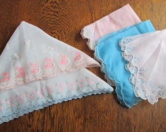 SALE- Lot of 5 Vintage Floral Nylon, Flocked Handkerchiefs- Pastels