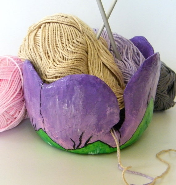 Knitting Yarn Holder : Flower bud yarn bowl holder eco friendly by recycoolart