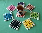 Colorful Handmade Coasters Eco friendly gifts - set of 8 in the holder