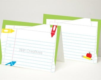 Back To School Themed Place Cards - School Supplies  - DIY Printable Digital File