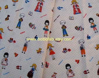 6370 - 1 yard Cotton Linen Fabric - Lovely girl and boy (140cm width)