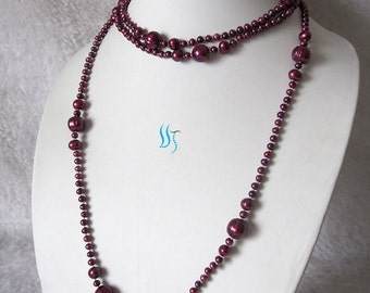 "STUNNING Gorgous All Natural 52"" of 3-12 MM Deep BURGUNDY Claret Wine Freshwater Pearls Rope Necklace"