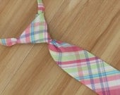Pink Easter Necktie, Baby Boy Easter Necktie, Boy Clothes for Valentines Day, Pink Pastel Plaid, Easter Tie