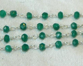 Emerald Green Onyx Rosary Chain 9 to 18 Inches Sterling Silver Wire Chain 3.5mm Semiprecious Gemstone Bead Chain Take 20% Off Jewelry Supply