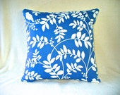 "Pillow with 18""x18"" Insert, Blue Background with White Vines and Birds, Accent Throw Pillow, Ready to Use."