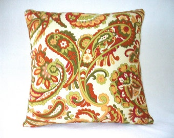 "Pillow with 18""x18"" Insert, Paisley Decorative Accent Throw, Designer Fabric. Ready to Use."
