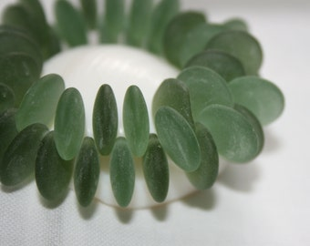 NEW 12mm . Czech Pressed Glass Lentels Rounds . seaglass frosty forest green . 25 beads