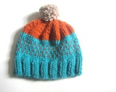 Please do not purchase, Fair Isle chunky Hat - Hand Knitted in Orange and Turquoise- Slouchy Pom Pom Hat, Unisex, READY TO SHIP