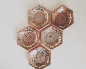 hexagon speckled ring dish with gold