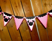 MInnie Mouse Pennant  Bunting Banner - Pink polka dot with Minnie Mouse