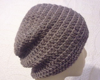 medium brown wool slouchy beanie, womens hat, teen to adult size, taupe wool beanie, wool slouchy, neutral slouchy hat