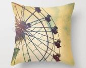 Pastel Soft Pillow, Yellow Accent Pillow. Neutral Throw Pillow Cover, 18x18 24x24 Decorative Pillow Cushion. Ferris Wheel Decor