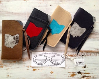 UpCycled Leather Ohio Sunglass Case // Boho Chic Cell Phone Case
