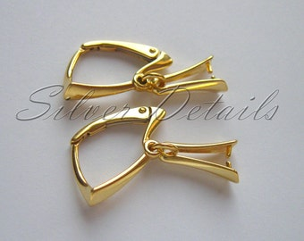 24K Gold Vermeil Long Leverbacks with Pinch Bail for Swarovski Crystals model ES18 AU 1 pair
