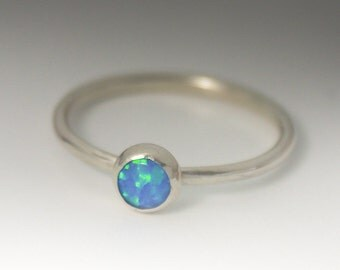 Sterling Silver Opal Ring -Blue Opal Ring - Stackable Sterling Silver Man Made Opal Ring - 5mm Opal