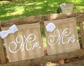 Rustic Mr and Mrs Signs Wedding Chair Signs Burlap  Chair Signs, Groom Sign Bride Sign Farmhouse Wedding Mr Mrs Sign Reception Signs