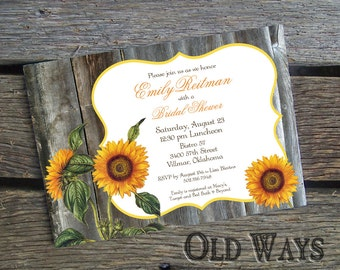 Printed Rustic Bridal Shower Invitations - Sunflowers and Barn Wood - Custom Country Wedding Shower Invites
