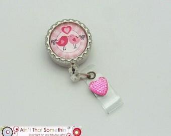 Lovebirds Retractable Badge Reel - Valentine Badge Reels - Cute Badge Clips - Fun ID Holders - Gifts Under 10 - Designer Badge Reel - ID Fun