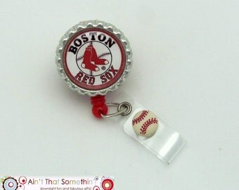 Red Sox Inspired Retractable Badge Reel - Sports Badge Clip - Badge Reel Gifts - Gifts Under 10 - Mens Badge Reels - Fun ID Holders