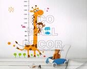 PEEL and STICK Removable Vinyl Wall Sticker Mural Decal Art - Giraffe Monkey Height Measurement Growth Chart