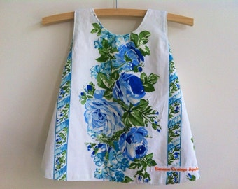 Blue and white baby pinny made from upcycled cotton sheets, ecofriendly baby clothing, cotton crossover dress vintage roses size 0 6 months