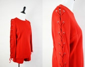 60s Mod Gogo Shorts Hot Pants Set / 1960s Bright Red Lace Up Long Sleeves Wool Gogo Outfit M