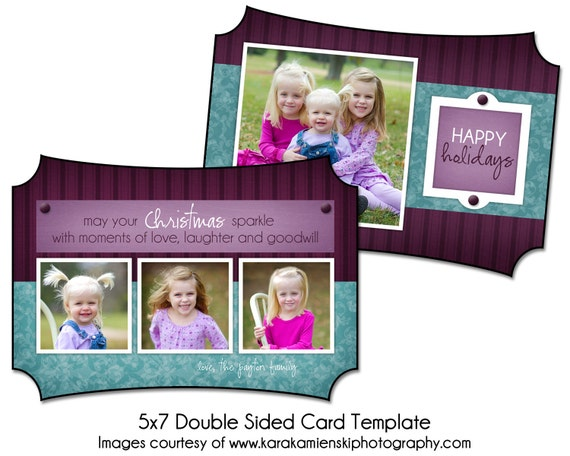 christmas card template plum holiday 5x7 double sided card. Black Bedroom Furniture Sets. Home Design Ideas