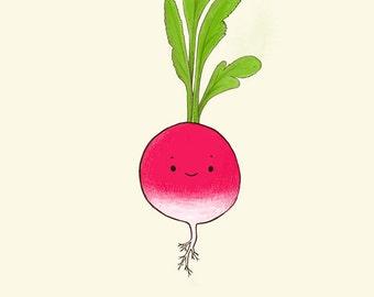 Radish print // Eddy the radish // Lovely vegetables series