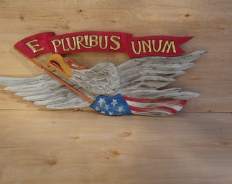 "Bellamy Eagle with ""E Pluribus Unum"" banner...Faces to the Left"