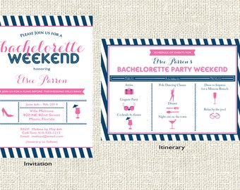 Bachelorette Weekend invitation and coordinating itinerary, Girl's Weekend,