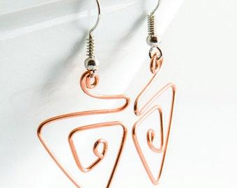 Geometric Wire Earrings, Copper Jewelry, Aztec Dangles, Wire Work Designs, Triangle Wire Earrings, Metalwork Jewelry, Copper Wire Earrings