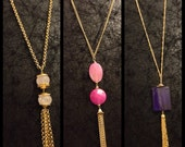 Long casual tassel necklaces detailed with pink & purple gemstones
