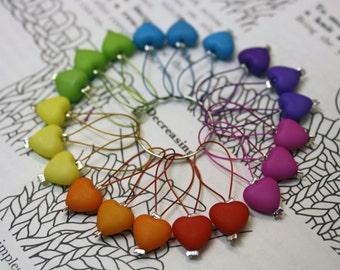 20 Knitting stitch markers rainbow hearts
