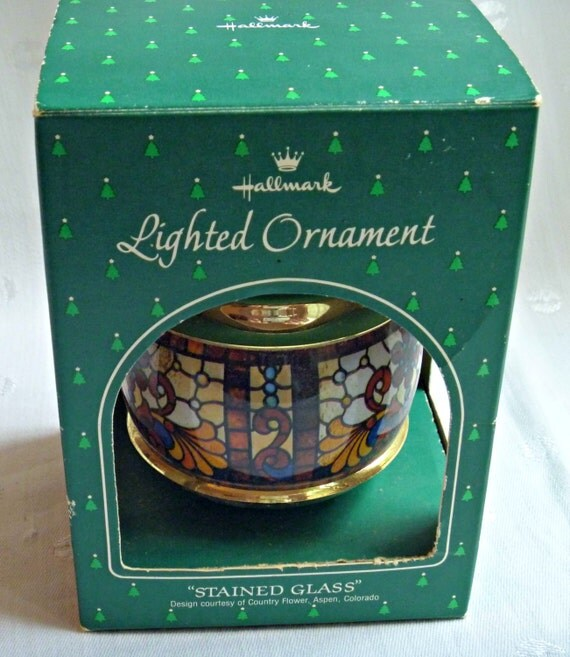 Illuminated Led Ornaments: Christmas Ornament Stained Glass Lighted Collectible 1984