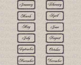 Month Labels Scrapbooking Labels Journaling Tags Printable Digital Download Collage Sheet for Iron on Transfer Fabric Pillow Tea Towel DT719