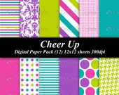 Cheer Up Digital Paper Pack (12) 12x12 sheets 300 dpi scrapbooking invitations bright teal green blue purple pink lime lavender