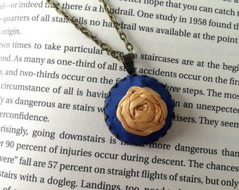 Blue Embroidered Jewelry, Rose Pendant Necklace - Silk Ribbon Embroidery by BeanTown Embroidery