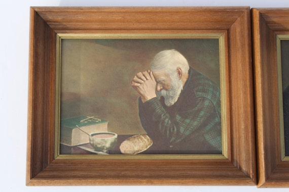 Vintage Grace And Gratitude Prints Old Man Praying