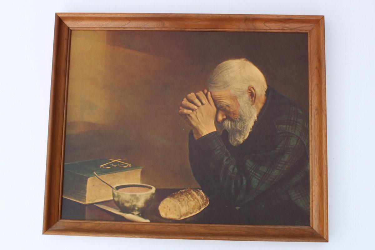 Vintage Enstrom Grace Print Old Man Praying Meal