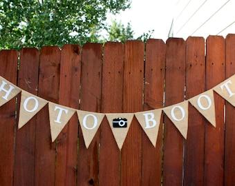 Photo Booth Banner, Burlap, Wedding Banner, Photography Prop, Custom Image