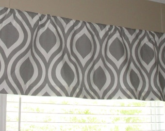"""Valance Premier Prints Tear Drop Gray and White Valance 50"""" x 16"""" Lined or Unlined"""
