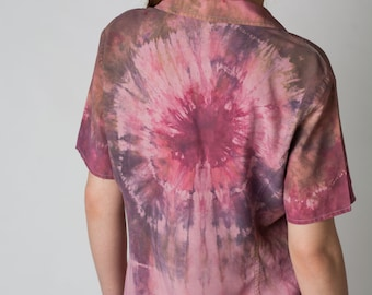 Eye of Horus: A Shibori Hand-Dyed Silk Blouse, Shirt, Top, Short-Sleeved, Pink Shirt, Silk, Comfortable, Top, Hand Dyed, Tie Dyed, Oxford