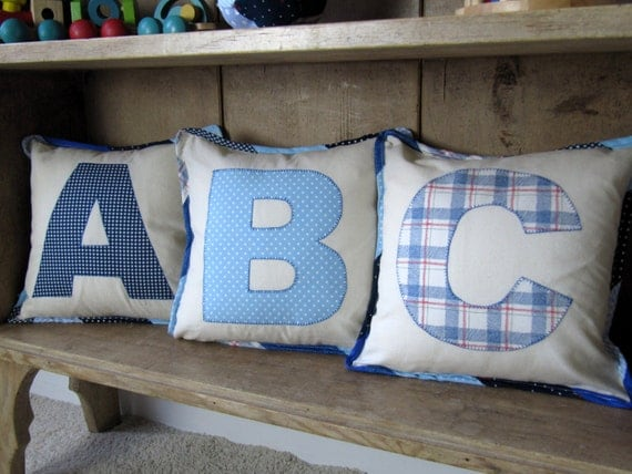 Initial pillow covers for children - set of three