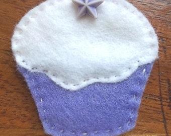Purple felt cupcake brooch