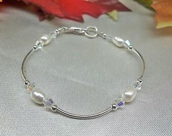 Crystal and Pearl Bracelet Clear AB Crystal Bracelet Adjustable Bracelet Sterling Silver Bracelet Bridesmaid Jewelry BuyAny3+1 Free
